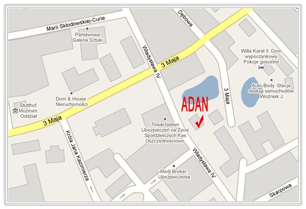 Mapa dojazdu Adan
